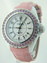 Chanel J12 Automatic Unisex Watch with Pink Sapphires - 38mm - H1337