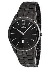 Edox Grand Ocean Ultra Slim PVD Gents Quartz Watch 27035 357N NIN